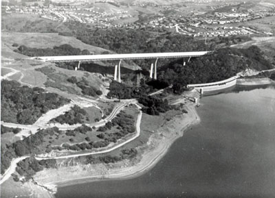 Eugene A. Doran Bridge over San Mateo Creek on I-20, Junipero Serra Freeway, was designed with a narrow sight-lined span with delicately fashioned.