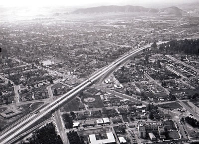 Looking southwest along the San Bernardino Freeway, (California Department of Public Works photo)