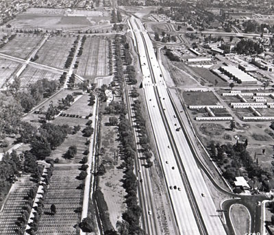 San Diego Freeway looking south to Wilshire Boulevard interchange and Santelle Veterans Hospital. California Department of Public Works photo)