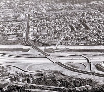 I-5 Golden State Freeway in foreground. (California Department of Public Department of Public Works photo.