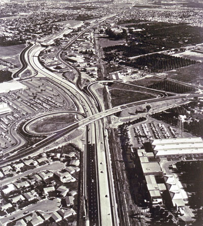 Santa Ana Freeway looking southeasterly toward Anaheim line with interchange with Euclid Avenue in center. (California Department of Public Works photo)