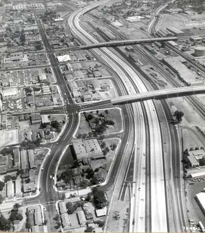 California - Recently completed contract on Interstate 5 in Burbank with the Magnolia Avenue structure and Olive Avenue structure in the center of the picture.  Aug 16, 1959.