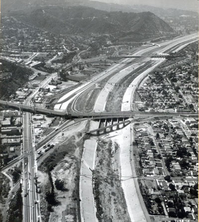 California - Temporary terminus of Interstate 5 on Riverside Drive in the vicinity of Glendale Boulevard, Las Feliz Boulevard interchange and Griffith Park ramps can be seen in the background.  Aug 16,1959.
