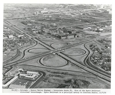 Colorado - Denver Valley Highway - Interstate Route 25 at the Speer Boulevard cloverleaf interchange.  Speer Boulevard is a principal artery to downtown Denver.  11/4/58.