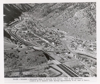 Colorado - Interstate Route 70 westerly from Denver.  View of new Interstate location as it bypasses Idaho Springs approximately 40 miles west of Denver.