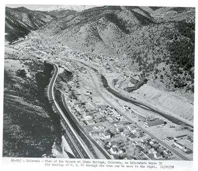 Colorado - View of the bypass at Idaho Springs, Colorado, on Interstate Route 70. Old routing of U.S. 40 through the town can be seen to the right.  11/20/58.