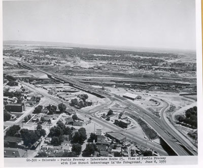 Colorado - Pueblo Freeway - Interstate Route 25.  View of Pueblo Freeway with Ilex Street interchange in the foreground.  June 8, 1959
