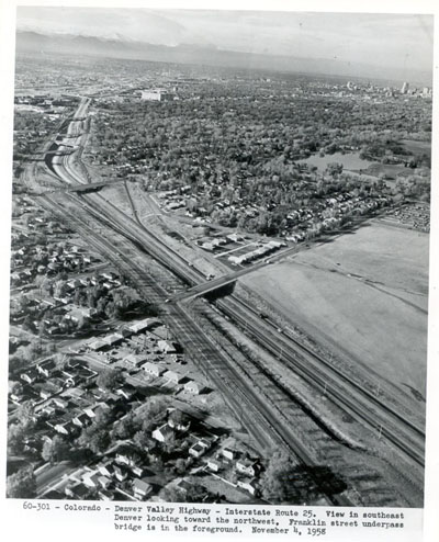 Colorado - Denver Valley Highway - Interstate 25.  View of southeast Denver looking toward the northwest. Franklin Street underpass bridge is in the foreground.  November 4, 1958