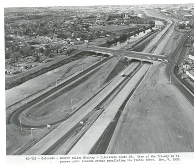 60-302- Colorado - Denver Highway Interstate Route 25.  View of the freeway as it passes under Alameda paralleling the Platte River.  Nov. 4, 1958.