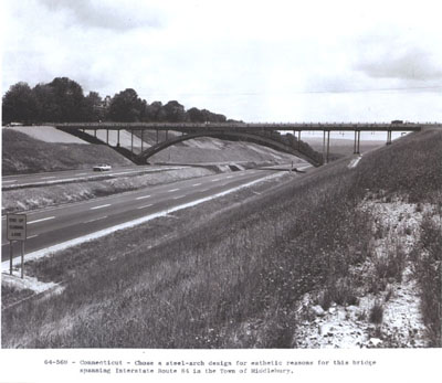 Connecticut - A steel-arch design was chosen for esthetic reasons for this bridge spanning Interstate Route 84 in Middlebury.