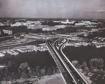 Washington, D.C. - Interstate Route 95 [now I-395] carries 52,000 vehicles daily into and out of Washington, D.C., not far from the Nation's Capitol.  Presently blocked-off lanes will connect with the inner loop, I-295, seen here under construction