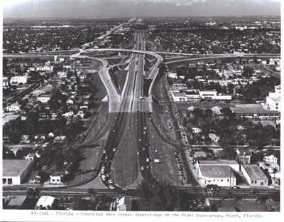 Florida - Completed 36th Street interchange on the Miami Expressway, Miami, Florida.