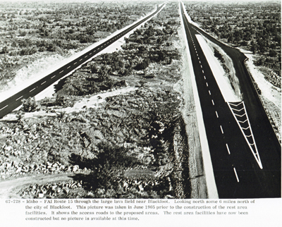 Idaho - FAI Route I-15 through the large lava field looking north some 6 miles north of the city of Blackfoot.  This picture was taken in June 1965 to show the construction of the rest area facilities.  It shows the access roads to the proposed areas.  The rest areas facilities have now been constructed but no picuture is available at this time.