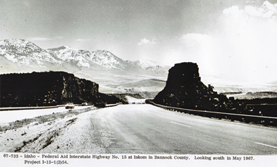 Idaho - Federal Aid Highway No. I-15 at Inkom, in Bannock county, looking southwest in May 1967.  Project I-15-1(2)54.