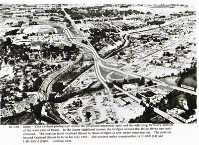 Idaho - This revised photograph shows the proposed Interstate spur and the adjoining primary section on the west side of Boise.  In the lower righthand corner the bridges across the Boise River are constructed.  The portion from Orchard Street to these bridges is now under construction.  The portion beyond Orchard Street is to be let July 1967.  The project under construction is U-3281(14) and I-IG-80N-1(25)50, now Inerstate 184, looking west.