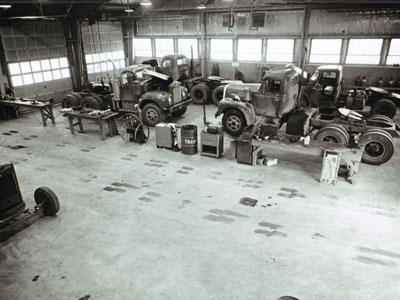 AASHO Road Test - Illinois Interior of vehicle maintenance shop.