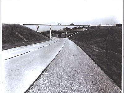 Illinois - A tri-level interchange interconnects Interstate Routes 57 and 70 southwest of Effingham.  Each of the three levels carries traffic in one direction only.