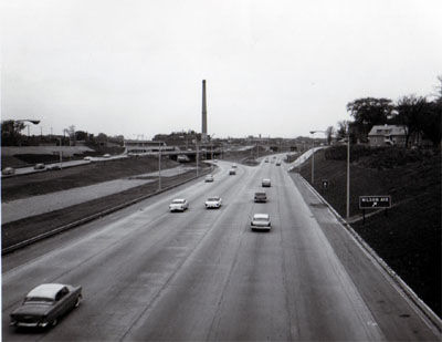 Interstate 94- Chicago Illinois.  Junction of Northwest Expressway and Edens Expressway looking West from Montrose Avenue.
