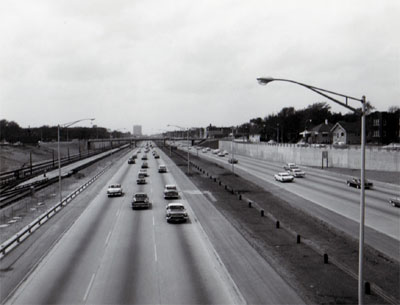View of Interstate 90 - Congress Street Expressway showing depressed section of Congress Street.  Expressway with C.A. & E. RR using median strip.  Looking East from Larmaie Avenue.