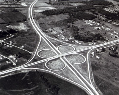 Interstate 69, here meeting Indiana State Route 14 at a cloverleaf interstate section, bypasses Fort Wayne. (Not yet in use when photographed.)