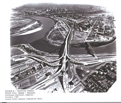 Kansas - Intercity Viaduct in Kansas City - Kansas-Missouri westbound structure complete November 1962. (Kansas State Highway Commission Photo)