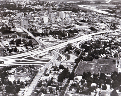 Louisiana - The Shreveport Expressway, part of Interstate Route 20, skirts the southwest edge of the city's downtown area.  (Under construction when photographed.)
