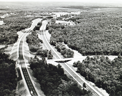 Massachusetts - Independent roadway design and a wide median help fit Interstate Route 95 into the landscape in between Attleboro and Sharon. (Projects I-95-1(23)4,(11)9,(19), (18)15, &(21)19.)