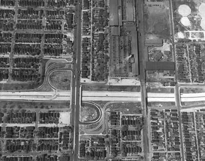 Michigan, Detroit, Ford Expressway showing Livernois interchange, C and O RR structure and Wesson Structure