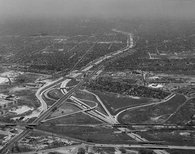 Michigan, Detroit.  Ford Expressway looking NE across connection with Willow Run Expressway