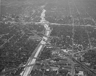 Michigan, Detroit.  Aerial view looking NE along Ford Expressway from vicinity of Grand River Avenue intersection area