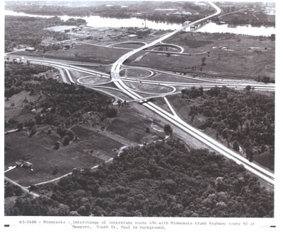 Minnesota - Interchange of Interstate Route 494 with Trunk Highway Route U.S. 61 at Newport.  South St. Paul in background.
