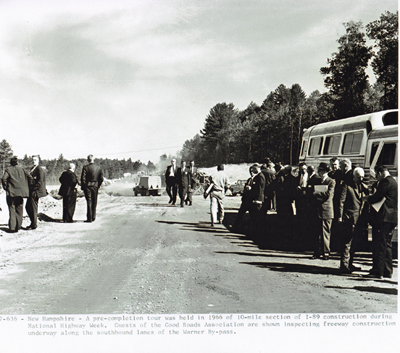 New Hampshire- A pre-completion tour was held in 1966 of 10-mile section of I-89 construction during National Highway week.  Guests for the Good Roads Association are shown inspecting freeway construction underway along the southbound lanes of the Warner By-pass