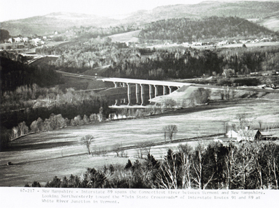 New Hampshire - Interstate 89 spans the Connecticut River between Vermont and New Hampshire.  Looking Northwesterly toward
