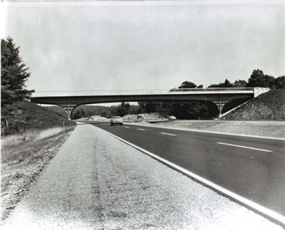 The Ash Street bridge over Interstate Route 93 in Londonerry, N.H., was a prize-winning entry in a bridge design competition.