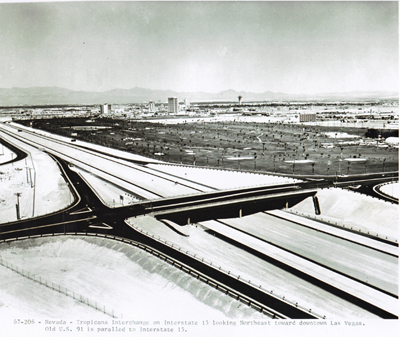 Nevada- Tropicana Interchange on Interstate 15 looking Northeast toward downtown Las Vegas.  Old U.S. 91 is parallel to Interstate 15.