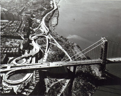New York- George Washington Bridge approaches with Alexander Hamilton Bridge foreground.  View looking west. Photo by the Port of New York Authority.