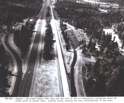 Oregon - Cow Creek Safety Rest Area was the site of the I-5 dedication ceremonies about 29 miles north of Grants Pass.  Looking south, showing the twin installations of the area.