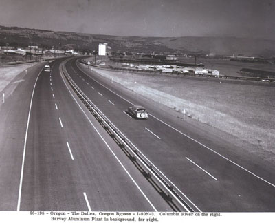 Oregon - The Dalles, Oregon Bypass - I-80N-3.  Columbia River on the right.  Harvey Aluminum Plant in background, far right.