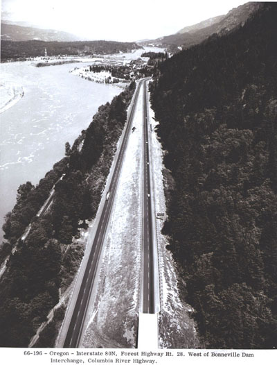 Oregon - Interstate 80N (now I-84), Forest Highway Rt. 28 west of Bonneville Dam interchange, Columbia River Highway.