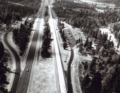 Oregon- Cow Creek Safety Rest Area was the site of the I-5 dedication ceremonies about 29 miles north of Grants Pass.  Looking south, showing the twin installations of the area.