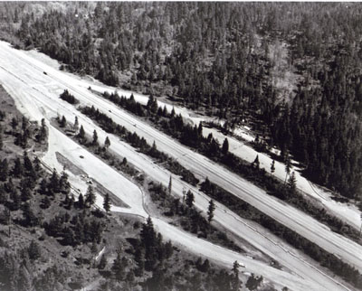 Oregon -Safety rest area under construction on Interstate 5, M.P. 236.  This illustrates the type of parking are design now employed; capacity based on percentage of estimated A.D.T. twenty years hence.