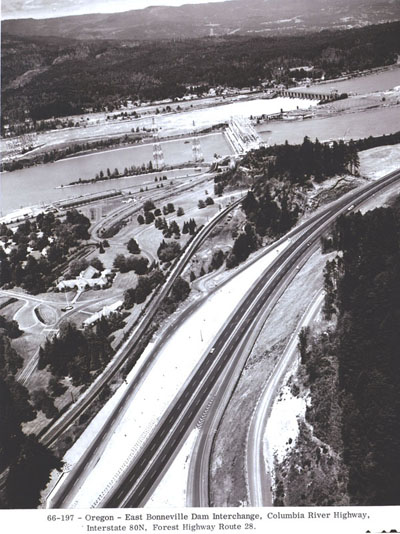 Oregon - Interstate 80N (now I-84), Forest Highway Rt. 28. West of Bonneville Dam interchange, Columbia River Highway.