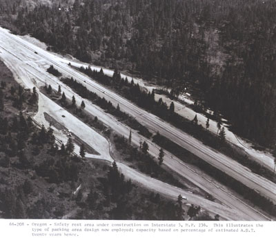 Oregon - Safety rest area under construction on Interstate 5, milepost 236.  This illustrates the type of parking area design now employed; capacity based on percentage of estimated A.D.T. twenty years hence.