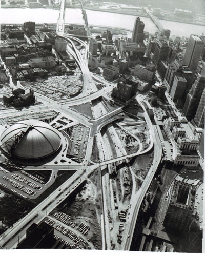 Pennsylvania - Pittsburgh, I-79 Still under construction, the Crosstown Boulevard penetrates the east end of the Golden Triangle.  Completion of this facility will provide the triangle with express access on all three sides.  Dome at left is unique Public Auditorium with retractable roof.