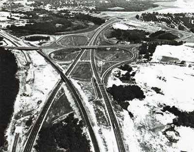 Rhode Island - I-95 interchange with I-295 and East Avenue in Warwick.