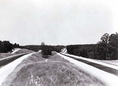 1966 Shoulder construction and striping on I-40 east of Natchez Trace State Park, Henderson County
