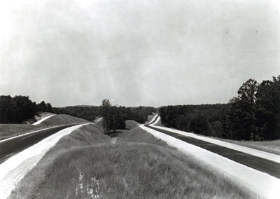 Tennessee - 1966 Shoulder construction and striping on I-40 east of Natchez Trace State Park, Henderson County.