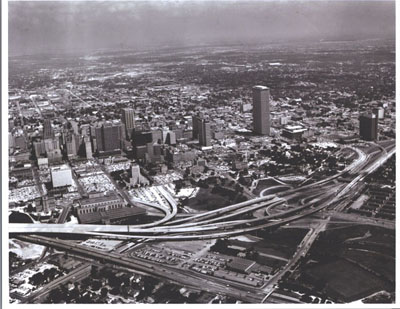 Texas - The Capitol Avenue interchange on Interstate Route 45, adjacent to downtown Houston.  (The viaduct at the left was not yet open to traffic.)