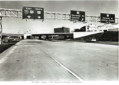 Texas I-35 E The Thornton Freeway in Dallas.