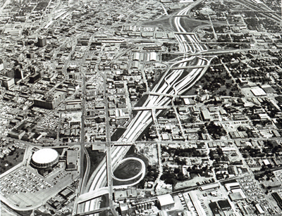 Texas- The final section of the complex Thornton Freeway skirts downtown Dallas.